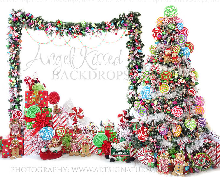 Candy Tree Christmas 5 8x10 Polyester (Horizontal Design)
