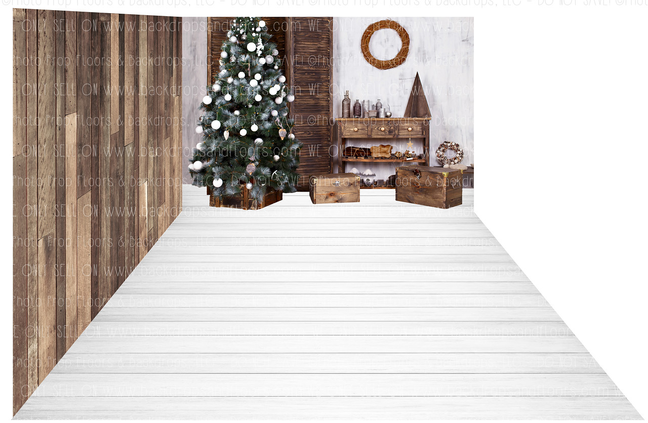 Holiday 1276 (Backdrop: 8x10 Sweatshirt Material) Wood Floor 1235 (Floor: 8x10 Non-Skid Floormat) Wood Floor 1205 (Right Wall: 8x8 Sweatshirt Material)