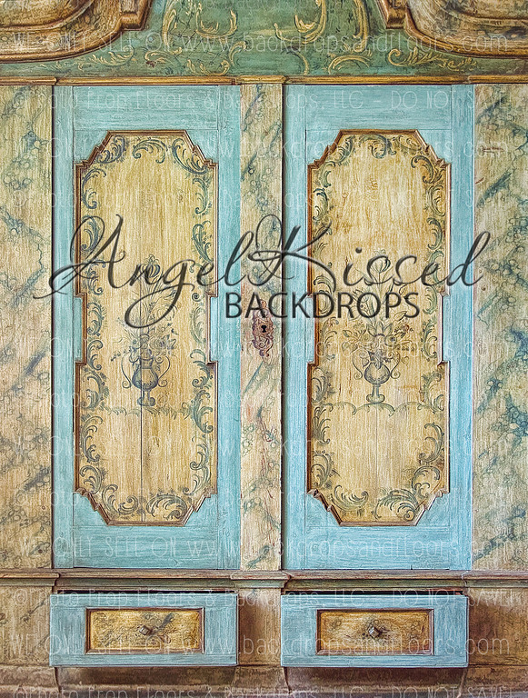 Shabby Aqua Doors - 60x80 Fleece (Vertical Design)