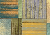 (U.S. / Canada Orders Only) Patchwork Wood Mat #1216 -  DESIGNER FAUX FLOOR, MATS/RUGS