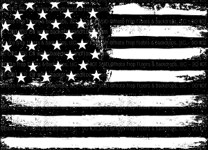 Black and White American Flag  (Horizontal Design)