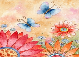 Butterflies Watercolor 4 (Horizontal Design)