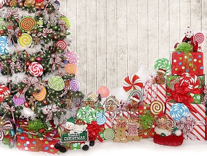 Candy Tree Christmas 3 (with wood wall) - 80x60  (Horizontal Design)