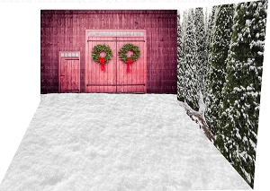 Holiday 1553 (Backdrop: 8x10 Fleece Material) Snow 11 (Floor: 8x10 Non-Skid Floormat) Holiday 1305 (Right Wall: 8x8 Fleece Material)