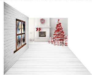 Holiday 1250 (Backdrop: 8x10 Fleece Material) Wood Floor 1235 (Floor: 8x10 Non-Skid Floormat) Holiday 1251 (Right Wall: 8x8 Fleece Material)