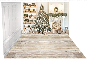 Holiday 1254 (Backdrop: 8x10 Fleece Material) Wood Floor 1239 (Floor: 8x10 Non-Skid Floormat) Panel 5 (Right Wall: 8x8 Fleece Material)