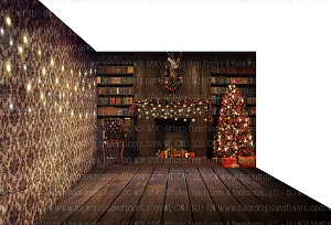 Holiday 1558 (Backdrop: 8x10 Fleece Material) Wood Floor 1174 (Floor: 8x10 Non-Skid Floormat) Wallpaper 648 (Right Wall: 8x8 Fleece Material)