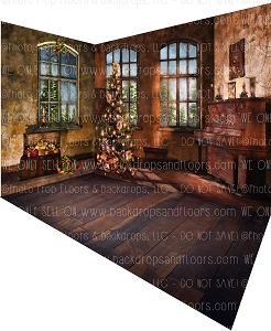 Holiday 530 (Backdrop: 8x10 Fleece Material) Wood Floor 1177 (Floor: 8x10 Non-Skid Floormat) Holiday 531 (Left Wall: 8x8 Fleece Material) Combo
