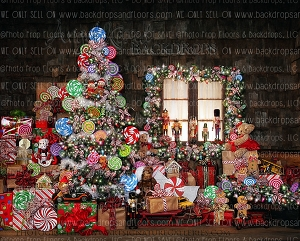Candy Cottage Christmas (with curtain) 8x10 Polyester (Horizontal Design)