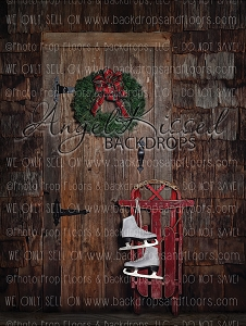 Christmas Cottage Door 60x80 Fleece (Vertical Design)