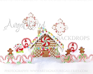 Gingerbread Love 4 (with snowflakes) - 8x10 Polyester (Horizontal Design)