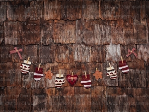 Lil' Cottage Mittens 1 - 60x80 (Burgundy) (Horizontal Design)