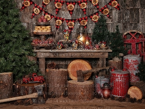 Lumber Jack Christmas 3 - 80x60 Fleece (Horizontal Design)