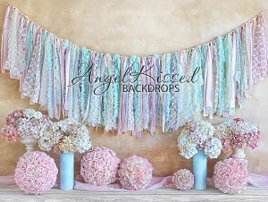 Pink and Aqua Lacy Blooms 1 - 80x60 (Horizontal Design)