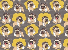 Pug Print 3 (Horizontal Design)