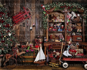 Santa's Workshop 3 - 8x10 Polyester  (Horizontal Design)