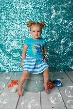 Teal Blue Shimmery Sequin Fabric Photography Backdrop