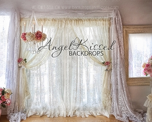 Vintage Lace Window - 8x10 (Horizontal Design)