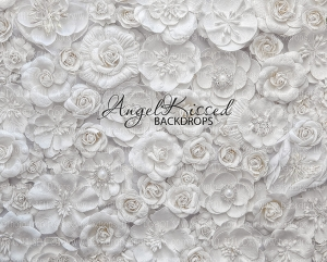 White Flower Wall 1 - 8x10 Polyester (Horizontal Design)