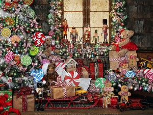 Candy Cottage Christmas - 60x80 (Horizontal Design)