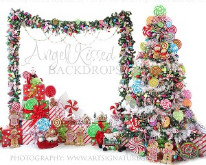 Candy Tree Christmas 5 8x10 Sweatshirt Material (Horizontal Design)
