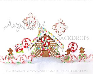 Gingerbread Love 4 (with snowflakes) - 8x10 (Horizontal Design)