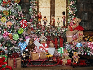 Candy Cottage Christmas - 80x60  (Horizontal Design)