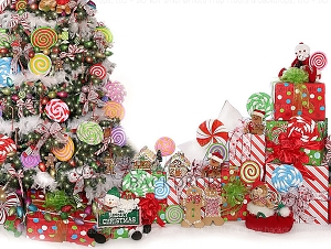 Candy Tree Christmas 1 (with white wall) - 80x60  (Horizontal Design)