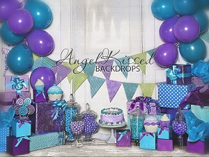 Purple and Teal Birthday - 80x60 (Horizontal Design)