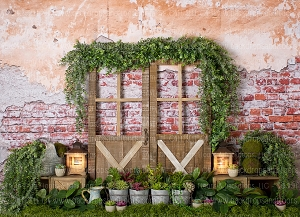 Rustic Brick Foliage 1 (Horizontal Design)