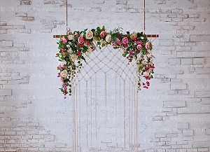 Shabby Brick and Floral 1 (Horizontal Design)
