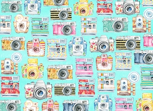 Watercolor Cameras 1 (Horizontal Design)