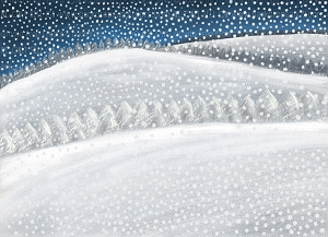 Painterly Winter Hills with Snow (Horizontal Design)