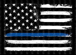 Thin Blue Line (DEFECT) 5FT x 5FT POLY PAPER